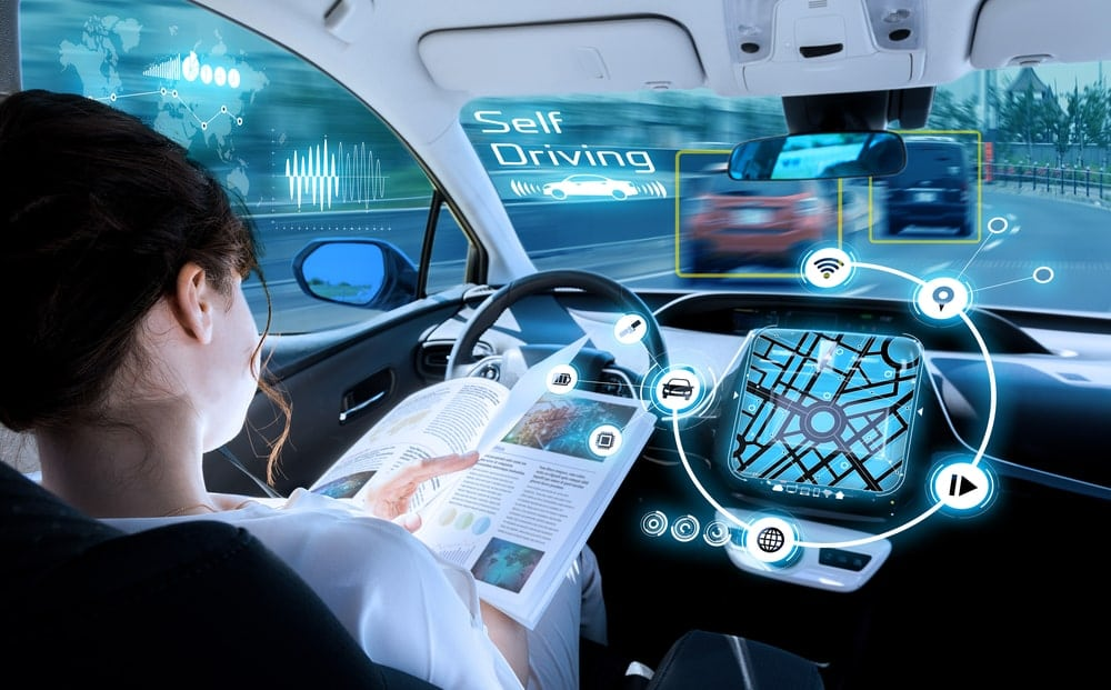 Interior of a self-driving vehicle