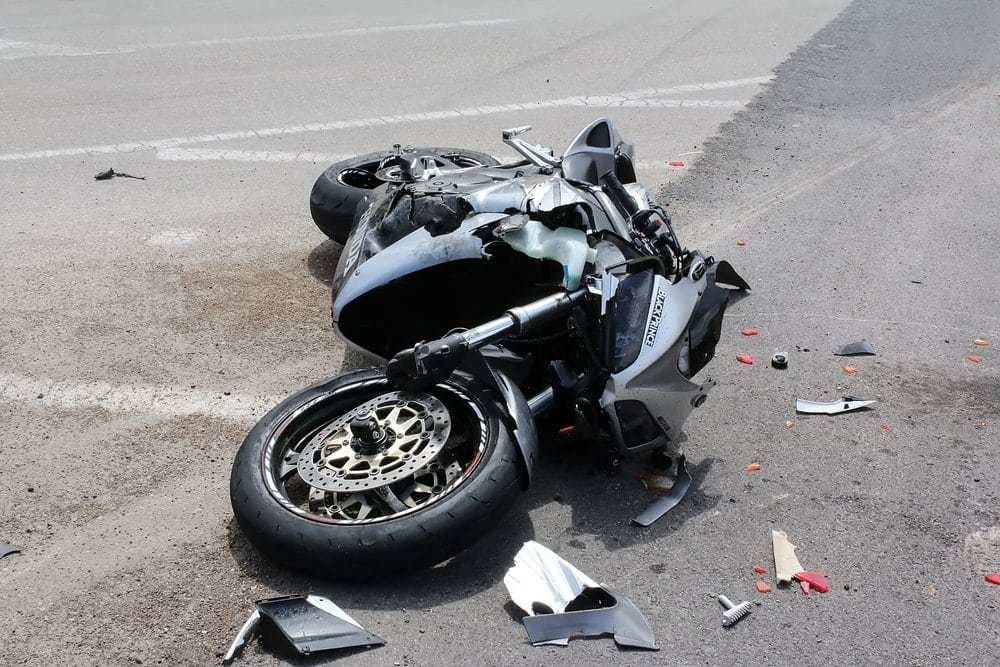 Motorcycle on street following accident